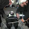 Einbinden einer Person auf einer Trage - Feuerwehr Halle-Diemitz